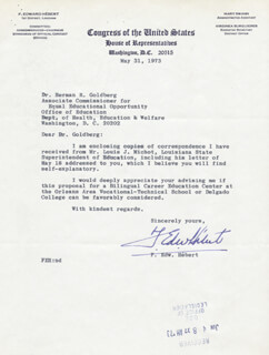 F. EDWARD HEBERT - TYPED LETTER SIGNED 05/31/1973