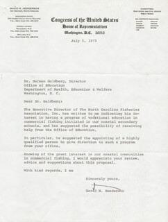 DAVID N. HENDERSON - TYPED LETTER SIGNED 07/05/1973