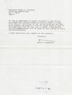 DAVID N. HENDERSON - TYPED LETTER SIGNED 05/01/1973