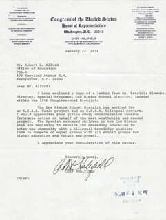 CHET HOLIFIELD - TYPED LETTER SIGNED 01/22/1974