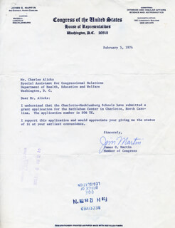 JAMES G. MARTIN - TYPED LETTER SIGNED 02/05/1974