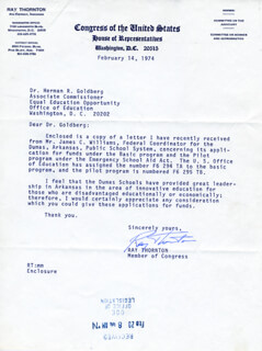 RAY THORNTON - TYPED LETTER SIGNED 02/14/1974