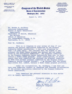 HENRY P. SMITH III - TYPED LETTER SIGNED 08/06/1973
