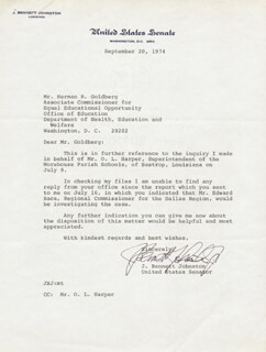 J. BENNETT JOHNSTON JR. - TYPED LETTER SIGNED 09/10/1974