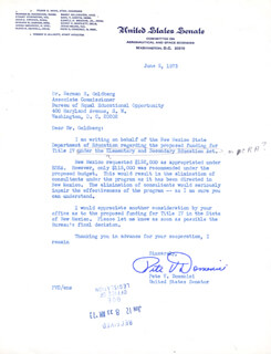 Autographs: PETE V. DOMENICI - TYPED LETTER UNSIGNED 06/05/1973