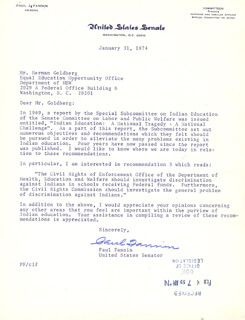 SENATOR PAUL FANNIN - TYPED LETTER SIGNED 01/31/1974