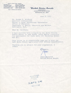 Autographs: JAMES GEORGE ABOUREZK - TYPED LETTER SIGNED 06/08/1973