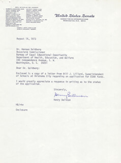 GOVERNOR HENRY BELLMON - TYPED LETTER SIGNED 08/14/1973