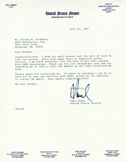 PAUL (POLITICS) SIMON - TYPED LETTER SIGNED 07/31/1987