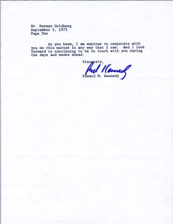EDWARD TED KENNEDY - TYPED LETTER SIGNED 09/05/1975