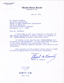 EDWARD TED KENNEDY - TYPED LETTER SIGNED 05/14/1974