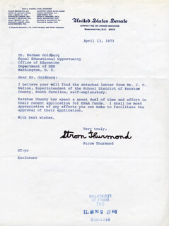STROM THURMOND - TYPED LETTER SIGNED 04/13/1973
