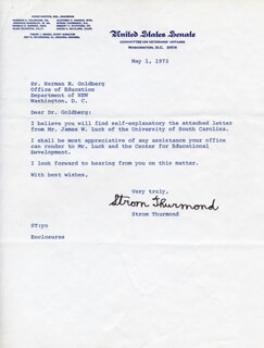 STROM THURMOND - TYPED LETTER SIGNED 05/01/1973