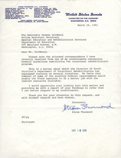 STROM THURMOND - TYPED LETTER SIGNED 03/10/1981