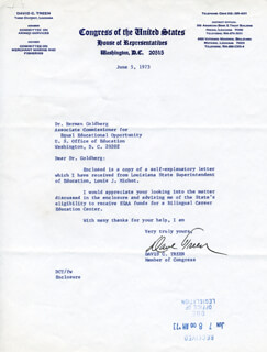 GOVERNOR DAVID C. TREEN - TYPED LETTER SIGNED 06/05/1973