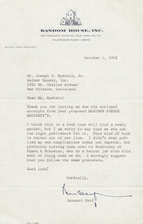 Autographs: BENNETT CERF - TYPED LETTER SIGNED 10/01/1962