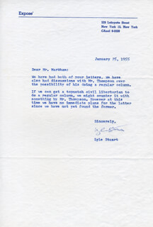 LYLE STUART - TYPED LETTER SIGNED 01/25/1955
