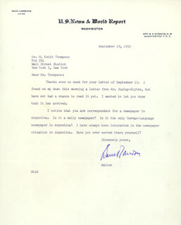 DAVID LAWRENCE - TYPED LETTER SIGNED 09/19/1955