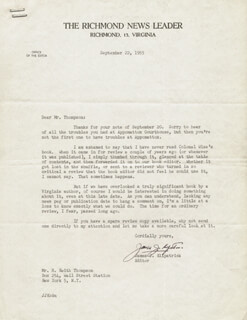 JAMES J. KILPATRICK - TYPED LETTER SIGNED 09/22/1955