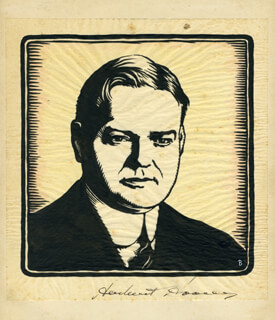 PRESIDENT HERBERT HOOVER - PRINTED ART SIGNED IN INK
