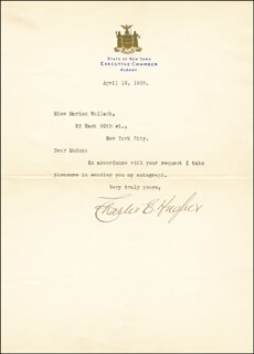 CHIEF JUSTICE CHARLES E HUGHES - TYPED LETTER SIGNED 04/16/1909