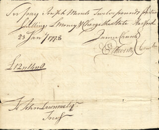 Autographs: CHIEF JUSTICE OLIVER ELLSWORTH - MANUSCRIPT DOCUMENT SIGNED 01/23/1778 CO-SIGNED BY: JAMES CHURCH
