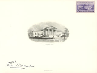 ASSOCIATE JUSTICE TOM C. CLARK - ENGRAVING SIGNED