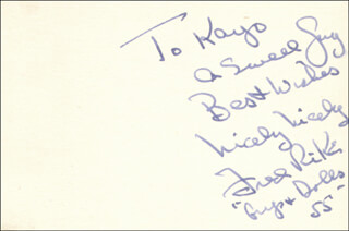 FRED RIKE - AUTOGRAPH NOTE SIGNED 1955