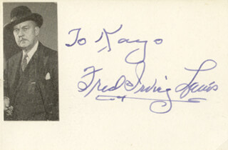 FRED IRVING LEWIS - INSCRIBED SIGNATURE