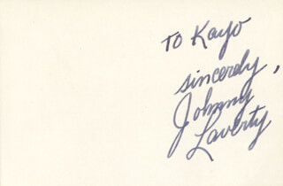JOHNNY LAVERTY - AUTOGRAPH NOTE SIGNED