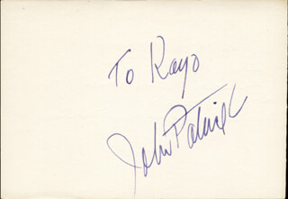JOHN PATRICK - INSCRIBED SIGNATURE