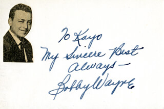 BOBBY WAYNE - AUTOGRAPH NOTE SIGNED