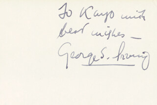 GEORGE S. IRVING - AUTOGRAPH NOTE SIGNED
