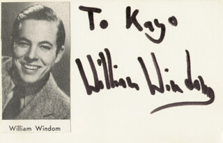 WILLIAM WINDOM - INSCRIBED SIGNATURE