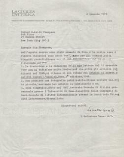 PADRE SALVATORE LENER - TYPED LETTER SIGNED 01/02/1975