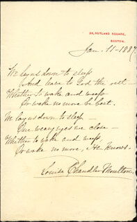 Autographs: LOUISE CHANDLER MOULTON - AUTOGRAPH POEM SIGNED 01/11/1887