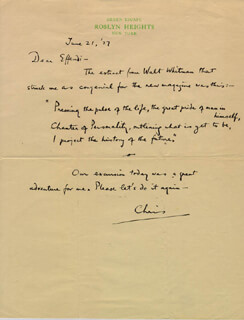 CHRISTOPHER MORLEY - AUTOGRAPH LETTER SIGNED 06/21/1927