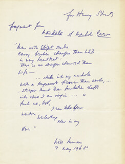 Autographs: WILL INMAN - INSCRIBED POEM SIGNED 05/07/1968