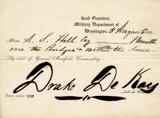 DRAKE DE KAY - PASS SIGNED 08/05/1861