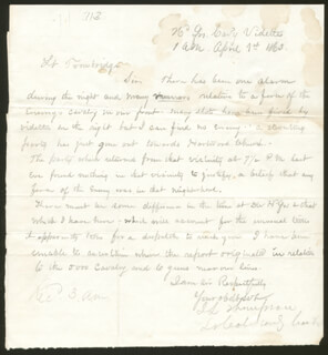 CIVIL WAR - UNION - MANUSCRIPT LETTER SIGNED 04/01/1863 CO-SIGNED BY: LT. COLONEL JOHN L. THOMPSON