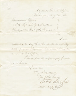 BRIGADIER GENERAL GEORGE D. RUGGLES - MANUSCRIPT LETTER SIGNED 05/08/1862