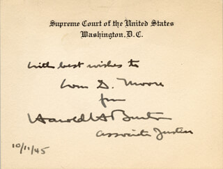 ASSOCIATE JUSTICE HAROLD H. BURTON - AUTOGRAPH NOTE ON SUPREME COURT CARD SIGNED 10/11/1945