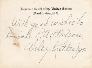 Autographs: ASSOCIATE JUSTICE WILEY B. RUTLEDGE - AUTOGRAPH NOTE ON SUPREME COURT CARD SIGNED 03/17/1943