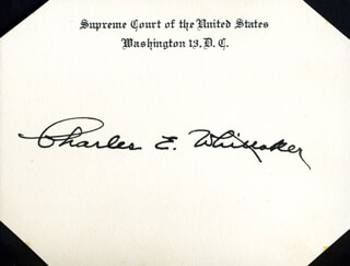 Autographs: ASSOCIATE JUSTICE CHARLES E. WHITTAKER - SUPREME COURT CARD SIGNED