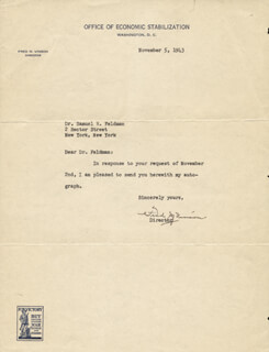 CHIEF JUSTICE FRED M. VINSON - TYPED LETTER SIGNED 11/05/1943