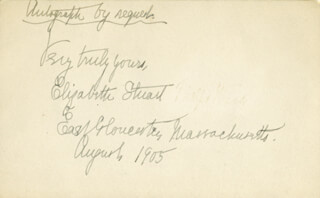 Autographs: ELIZABETH MARY ADAMS STUART PHELPS WARD - AUTOGRAPH NOTE SIGNED 8/1905
