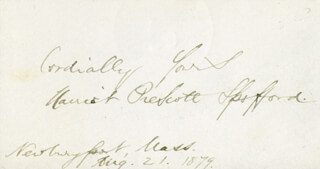 HARRIET PRESCOTT SPOFFORD - AUTOGRAPH SENTIMENT SIGNED 08/21/1879