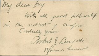 ROBERT J. BURDETTE - AUTOGRAPH NOTE SIGNED