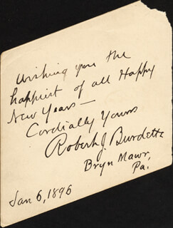 Autographs: ROBERT J. BURDETTE - AUTOGRAPH NOTE SIGNED 01/06/1896