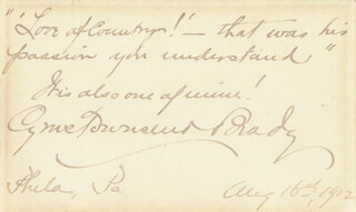 CYRUS TOWNSEND BRADY - AUTOGRAPH QUOTATION SIGNED 08/16/1902